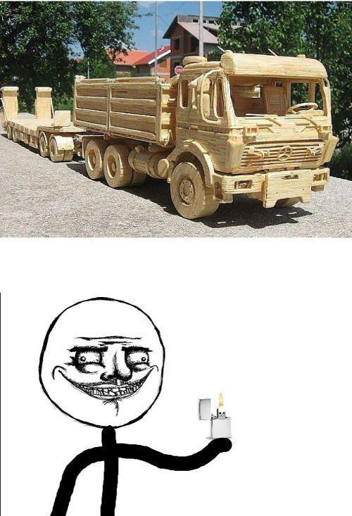 Фотоприкол дня грузовик, деревянный авто, зажигалка, мем