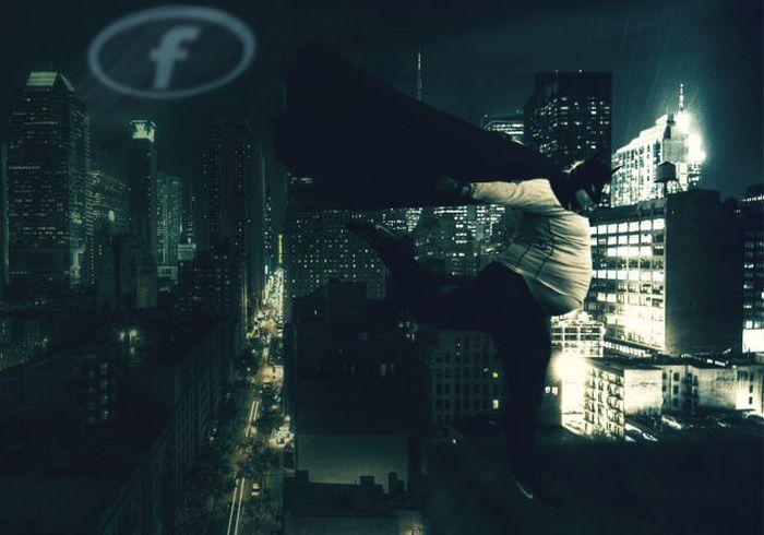 Бесплатный фотоприкол город, прикол, супергерой, толстый