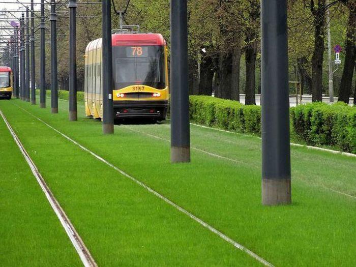 Юмор газон, железная дорога, рельсы, трамвай