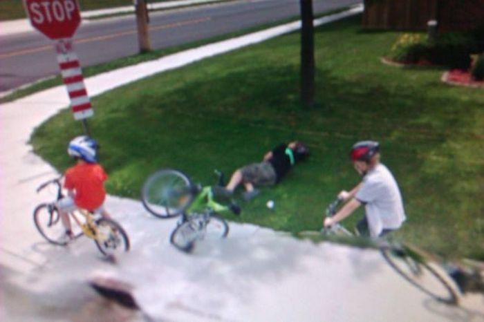 Прикол велосипед, дети, падение, прикол