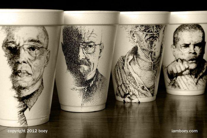 стаканчик, кофе, арт, художник