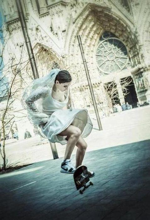 Прикол невеста, свадебное платье, скейтборд