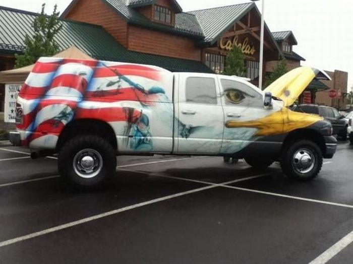 Прикол разукрасил авто, сша, флаг