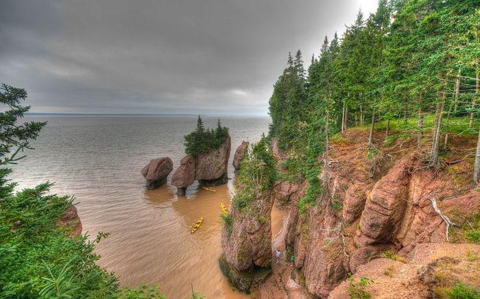 залив, скалы, остров, прилив