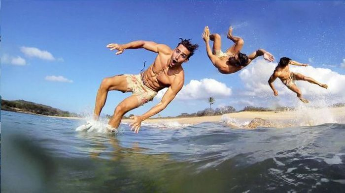 Яркие фото море, прыжок, серфер