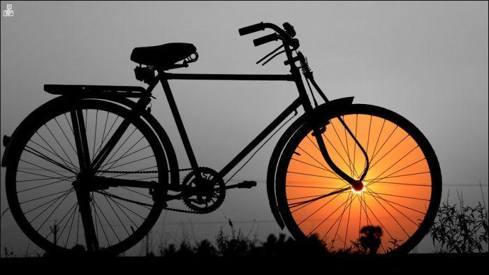 Пикантный фотоприкол велосипед, закат, красивое фото