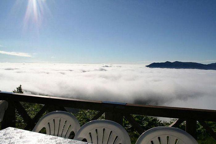 терраса, облако, турист
