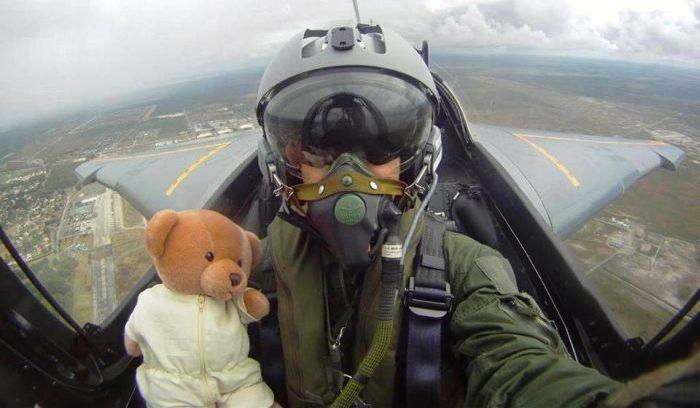 Бесплатный фотоприкол игрушка, истребитель, летчик, медведь