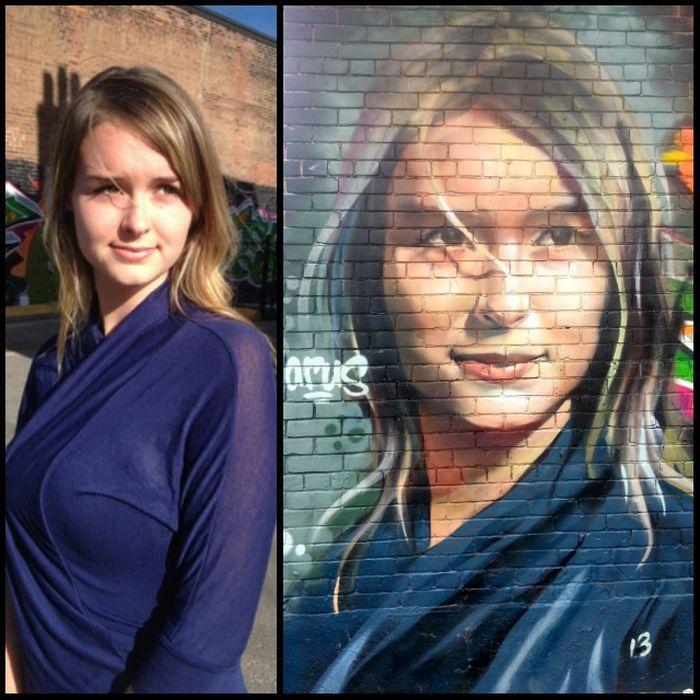 Фотоприкол дня граффити, девушка, рисунок на стене