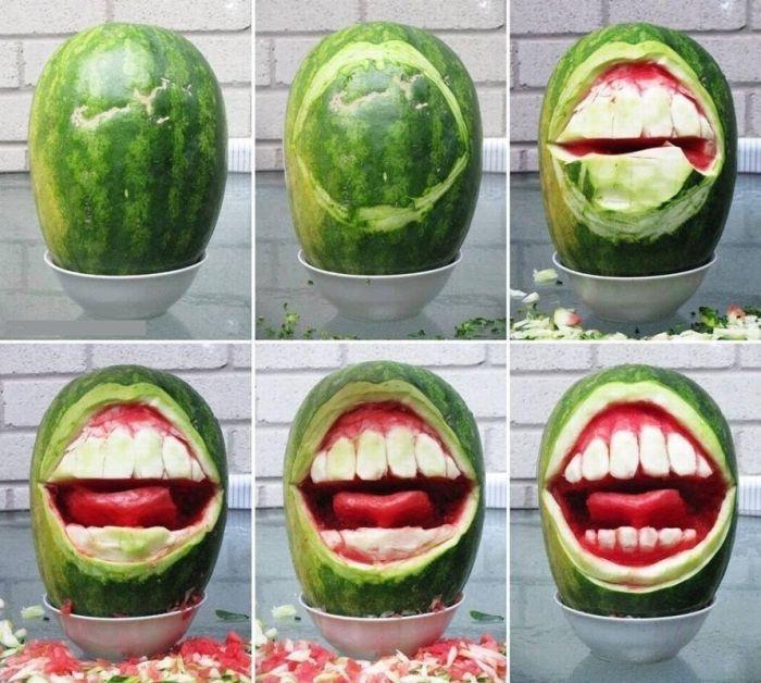Фото арбуз, зубы, оскал, своими руками