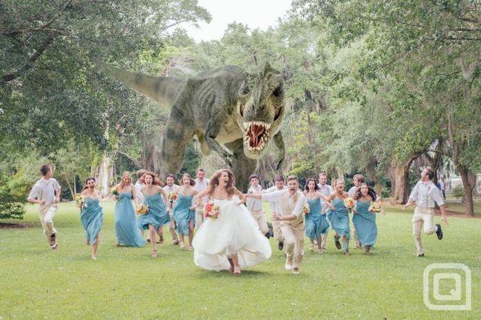 Яркие фото динозавр, платье, прикольное фото, свадьба