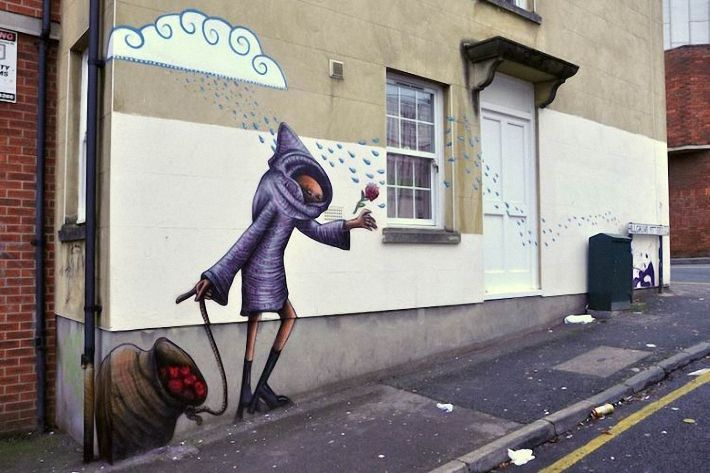 Рабочий, смешные рисунки на улице