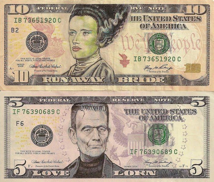 Рисунки на долларах  Джеймса Чарльза (8 Фото)