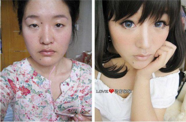 Азиатские девушки до и после косметики (73 фото)