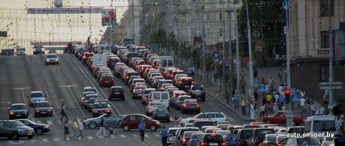 Минск: автомобилисты перекрыли проспект Независимости (29 фото + видео)