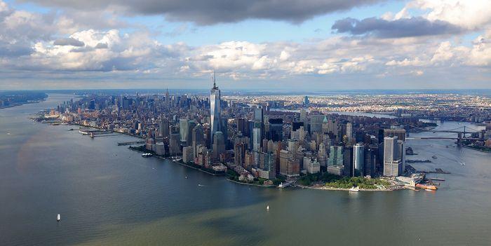 небо, панарама, америка, аэрофотосъёмка,  нью-йорк, сша