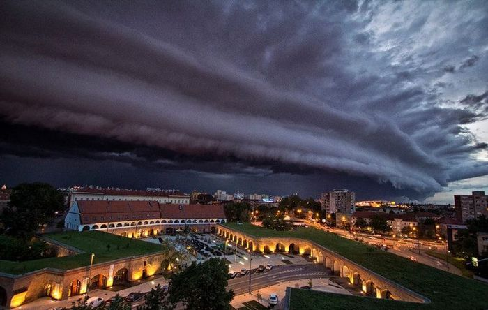 гроза, облако, город, буря, жара