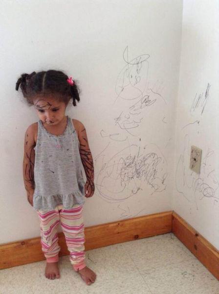 Смешная фотогалерея девочка, ребенок, рисунок, стены