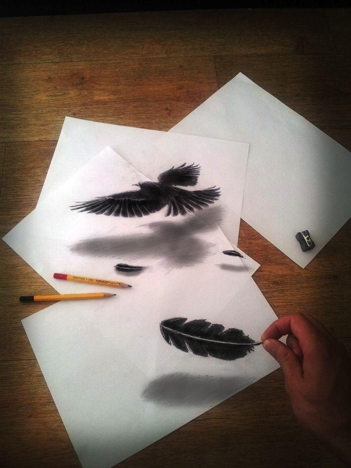 Dibujos en papel que se ven en 3D impresionante  Taringa