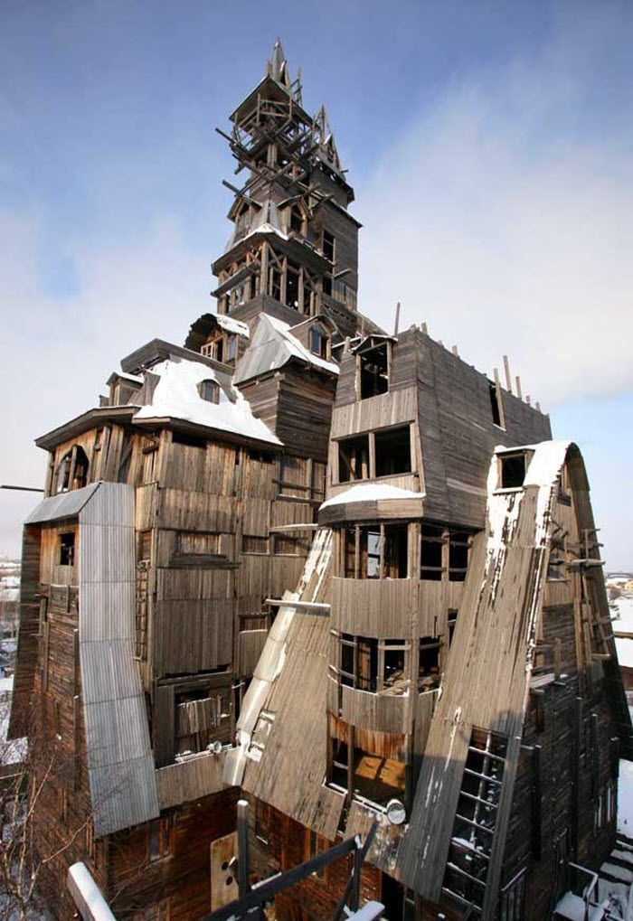 Деревянный небоскреб в Архангельске. Снесен в 2009 году