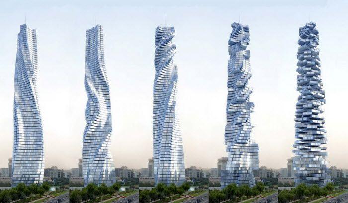 Dynamic Tower в Дубае. Небоскреб, у которого каждый этаж движется по своей оси, независимо от других. Первое здание, способное изменять свою форму. Еще строится.