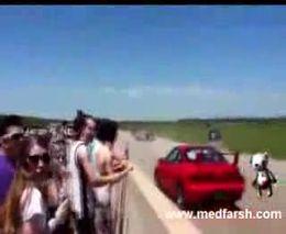 Жуткая авария на гонках