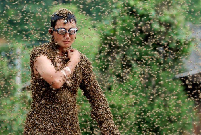 Китаец удержал на своем теле 26 килограммов пчел (6 фото)