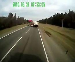 Проскочил между двух грузовиков