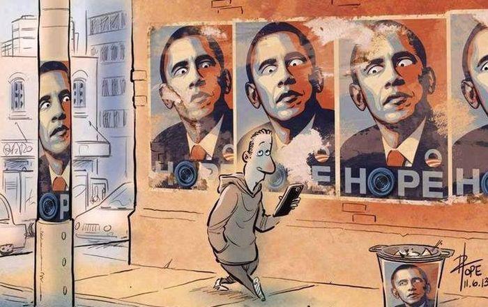Смешной фотоприкол барак обама, взгляд, на стене, рисунок