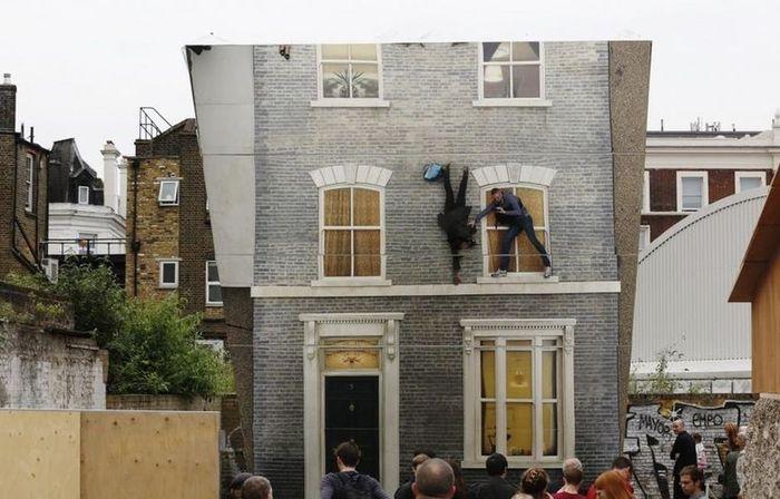 супергерой, зеркало, дом, фасад, здание
