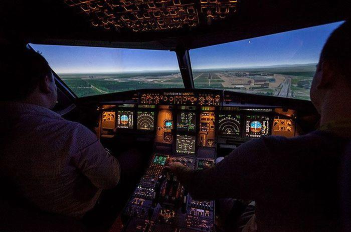 пилот, самолет, компьютер, экипаж, тренировка