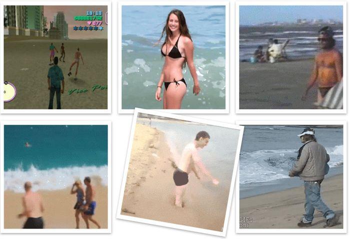 гифки, анимахи, позитив, пляж