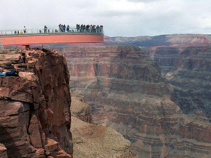гранд-каньон, мост, пропасть, скала, гора