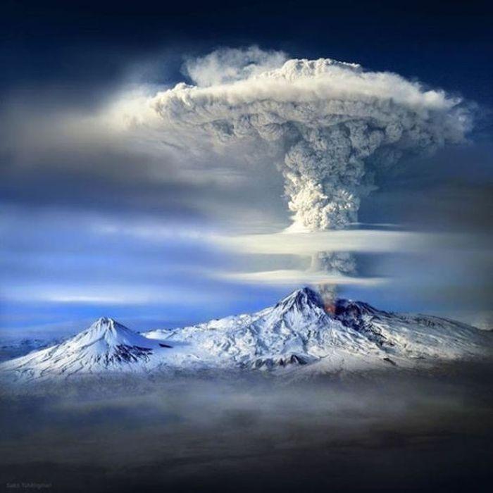 Смешные рисунки извержение вулкана, облако, пепел