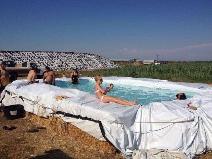 Яркие фото бассейн, девушка, самодельный, сеновал