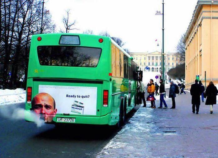 Фотоприкол онлайн автобус, курение, реклама, труба