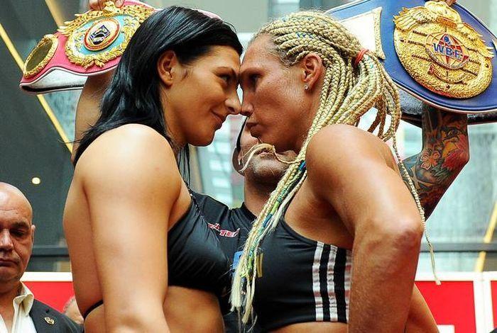 бокс, девушки, поцелуй