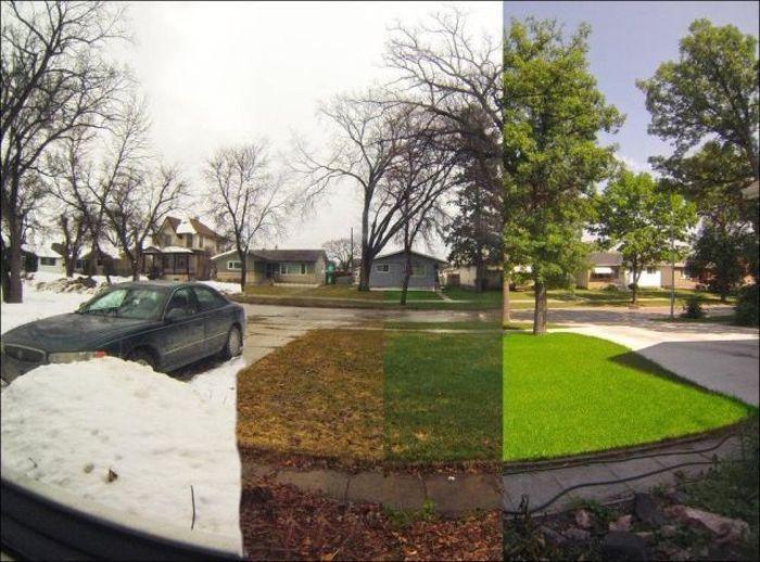 Прикол времена года, двор, машина
