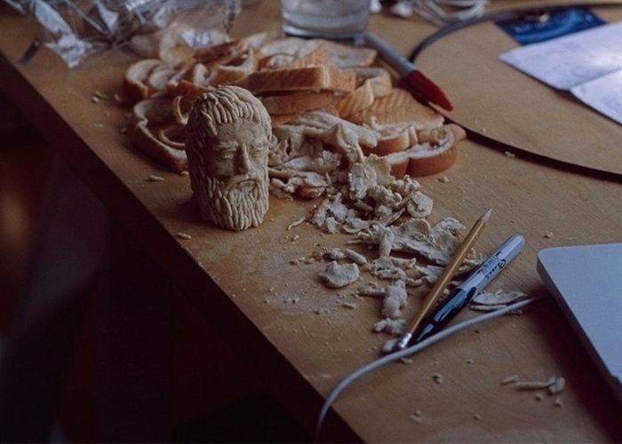 хлеб, мякиш, искусство, голова, знаменитость