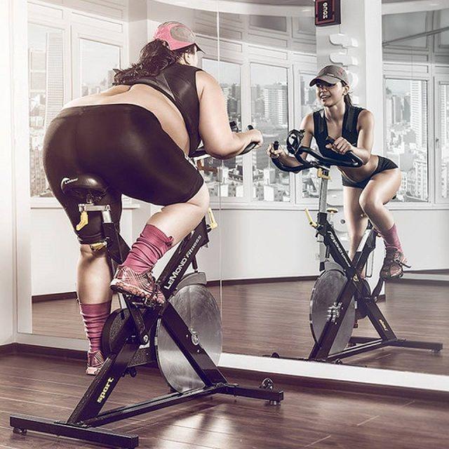 Бесплатно фото девушка, зеркало, толстая, тренажер