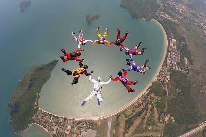вид спорта, небо, облака, парашют, полет