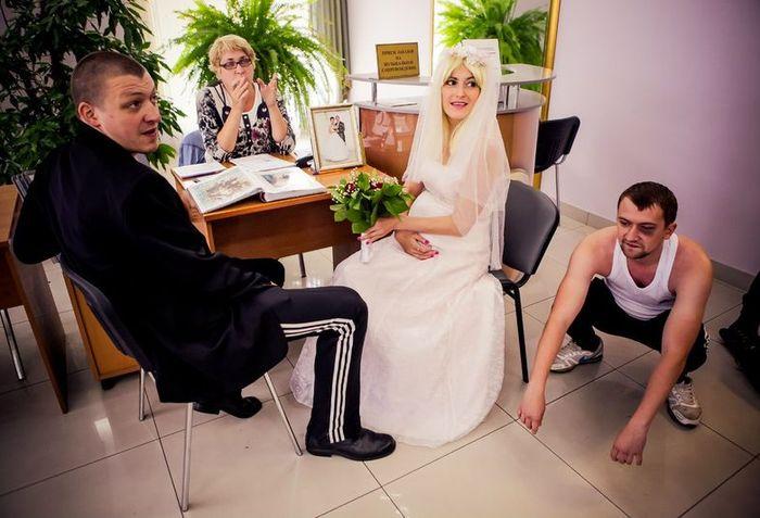 свадьба, гопники, пара