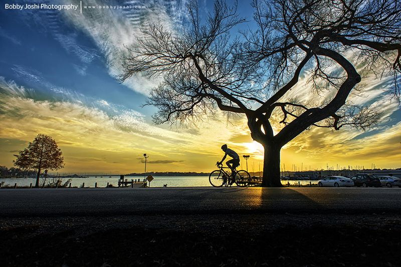 Новые фото велосипедист, закат, красота природы