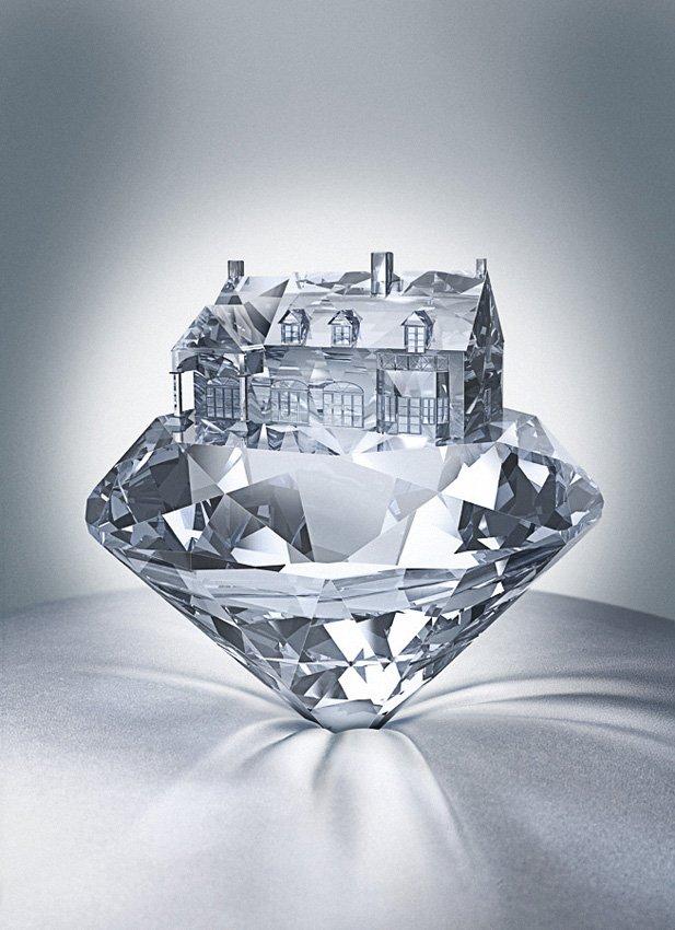 Открытка о бриллианте, птица