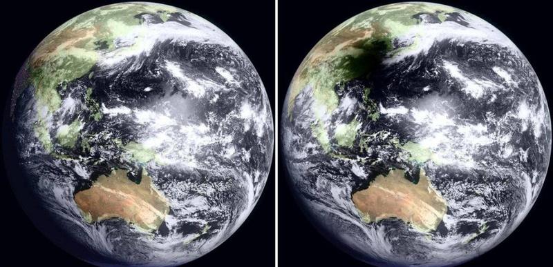 Утром 22 июля на большую часть Китая и Тихого океана упала тень во время необычайно долгого солнечного затмения. Эти снимки с японского геостационарного спутника MTSAT показывают Землю в 8:30 утра по местному времени в Тайване (слева), а затем через час во время солнечного затмения (справа). (WebGMS-MTSAT/GMS/NASA)