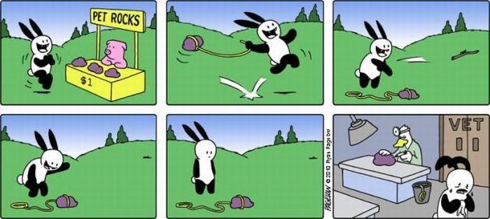 Комикс про неудачливого кролика (45 картинок)