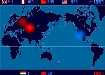 Анимированная карта ядерных взрывов (1945-1998)