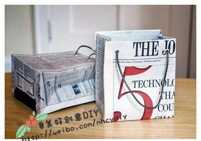 Подарочный пакет из газеты (5 фото)