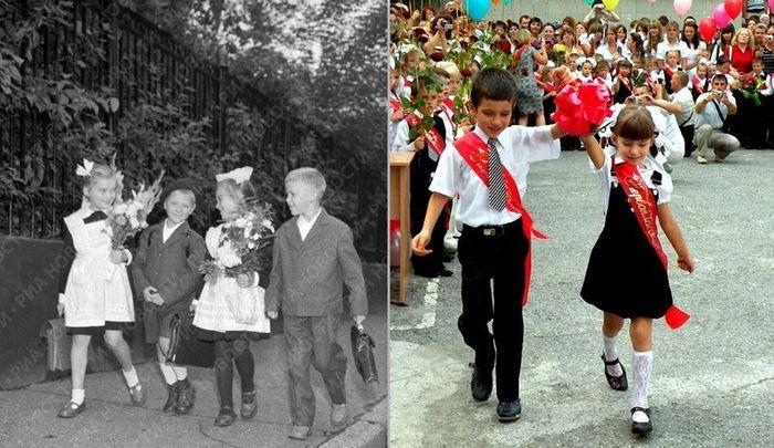 1-ое сентября тогда и сейчас (11 фото)