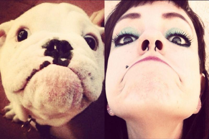Шикарное фото выражение лица, девушка, питомец, собака